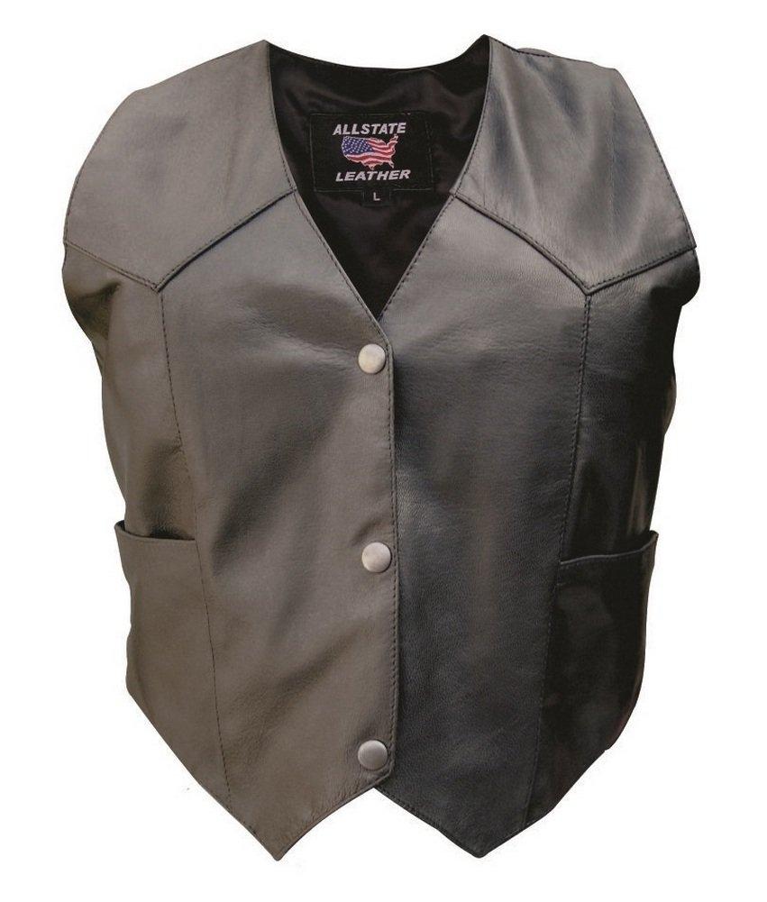 Lady Pirate Plain Black Genuine Leather Vest - DeluxeAdultCostumes.com