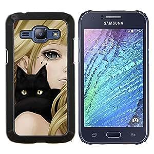 "Be-Star Único Patrón Plástico Duro Fundas Cover Cubre Hard Case Cover Para Samsung Galaxy J1 / J100 ( Gato Negro y Anime Girl"" )"