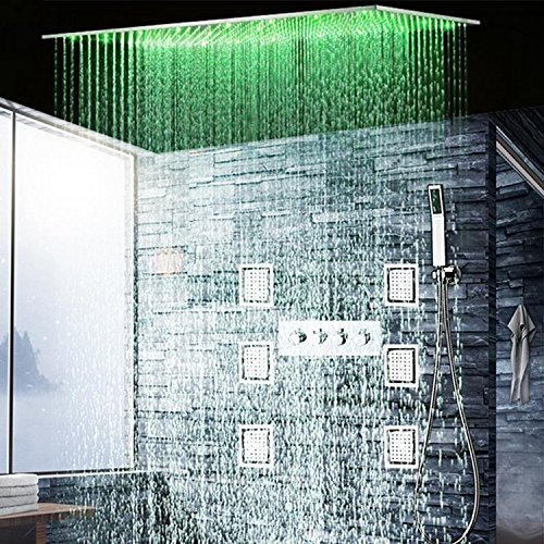 Gowe 5001000mm Large Rainfall LED Shower Head High Flow 50L Hot Cold Conceal Shower Mixer Body Jets Massage Shower Set 0
