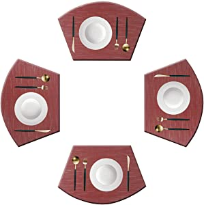 Panda Palm Wedge Shaped Placemats for Round Table Cross-Weave Washable Vinyl Placemat Heat-Insulating Table Mats Set of 4 (Burgundy Red)