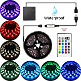 Abtong LED Strip Lights Battery Operated USB Powered TV Backlight, LED Strip Battery Powered with RF Remote Waterproof RGB LED Strip Rope Lights Multi Color Changing, 2M/6.56ft