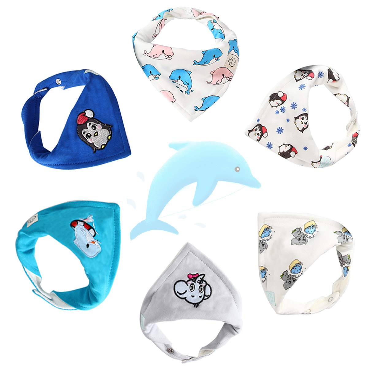 Soft and Absorbent Cute Baby Bibs for Teething Drooling Perfect Baby Shower Gift Set by Little Dimsum Christmas Bib 4 Pieces Baby Bandana Bib for Christmas