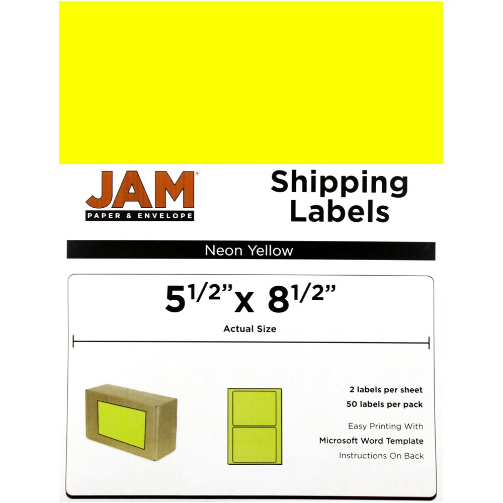 JAM PAPER Shipping Labels - Half Page - 5 1/2 x 8 1/2 - Neon Yellow - 50/Pack