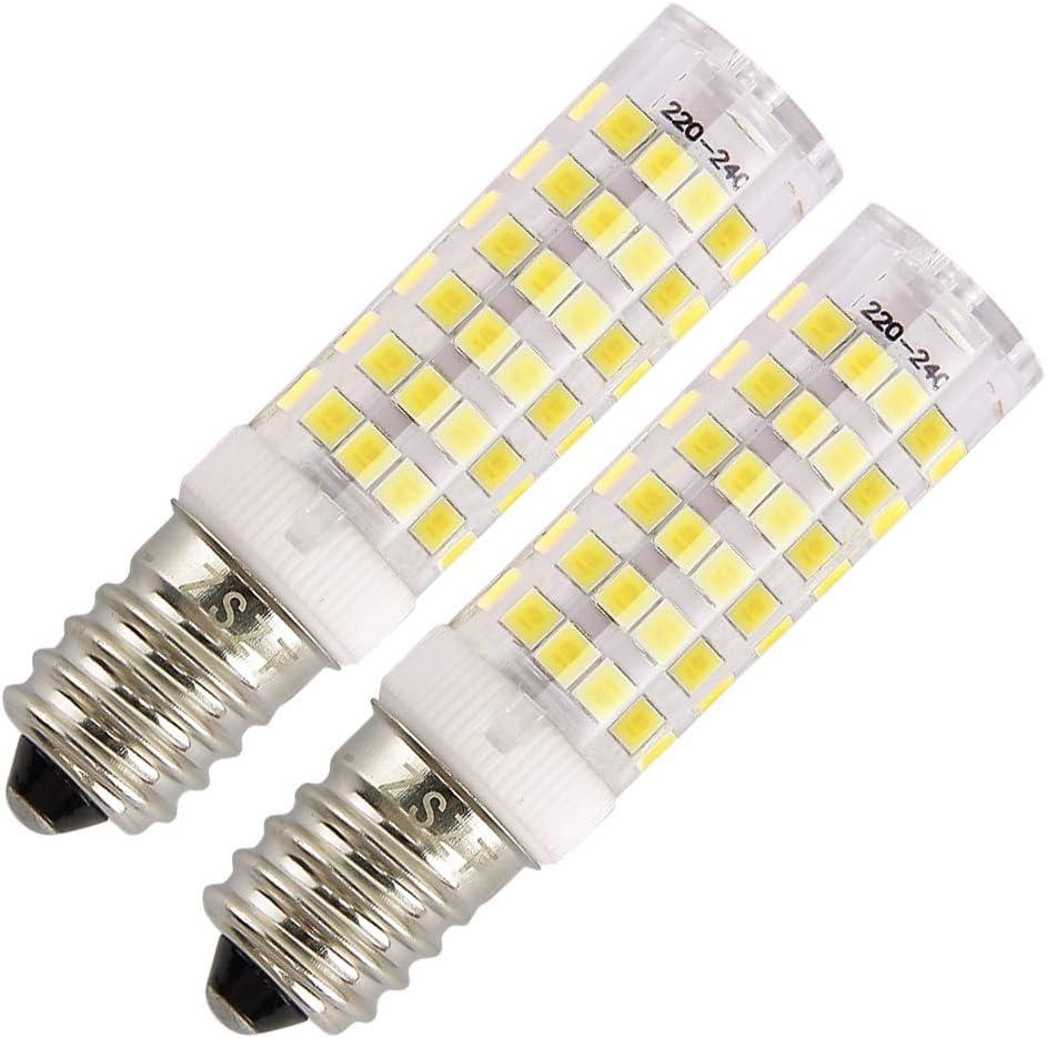 Bombilla campana extractora, ZSZT E14 bombilla LED 7W rosca Edison pequeña (SES) Equivalente 50W, Blanco Frío 6000K, pequeña y potente, 2 unidades