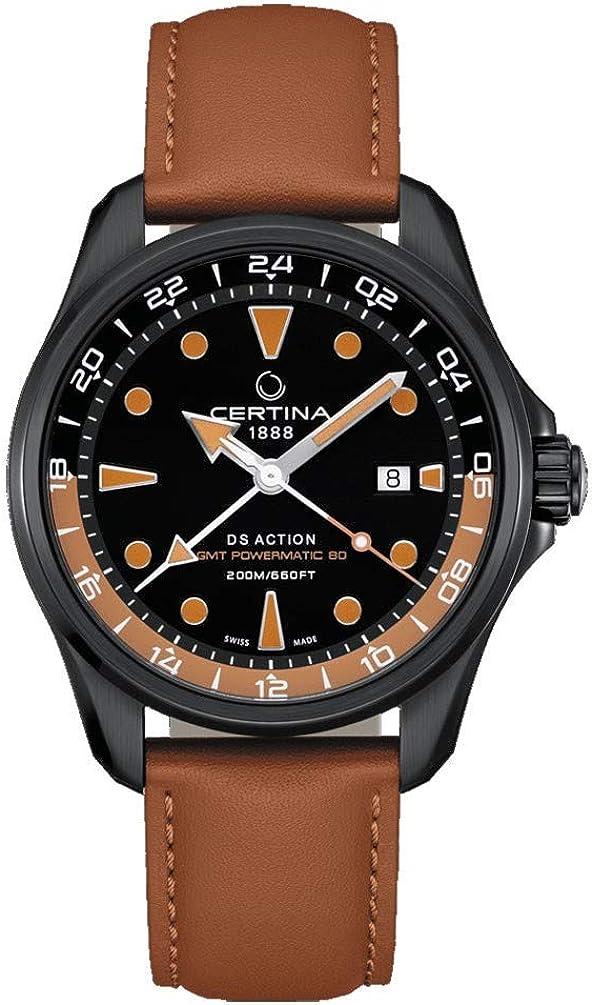 Certina DS Action GMT Powermatic 80 Negro Correa marrón C0324293605100