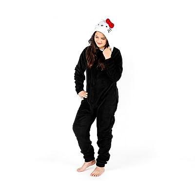 1acc683ede Hello Kitty Adult Fleece Hooded Onesie  Black