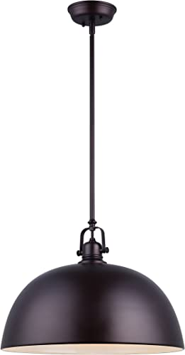 CANARM IPL222B01ORB16 LTD Polo 1 Light Rod Pendant, Oil Rubbed Bronze with Painted White Interior