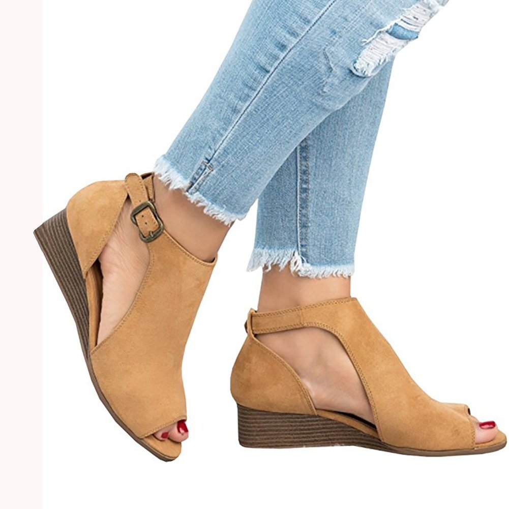 80c29a0ace8c Amazon.com  Womens Low Heel Wedge sandals Open Peep Toe Side Cut Out Ankle  Buckle Cushioned Strap Summer Suede Shoes  Clothing