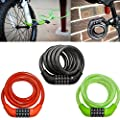 Lumintrail 5 Digit Resettable Combination Bike Lock with 12mm Flexible Self Coiling Braided Steel Cable, Keyless Convenience with Bike Frame Mount Bracket included - Assorted Colors