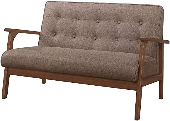 Modern Solid Loveseat Sofa Upholstered Fabric 2-Seat Couch Brown