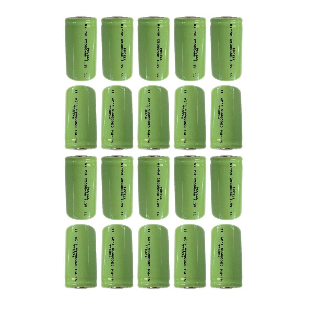Rechargeable c size Batteries 1.2v Count (5000mAh 20Pcs Flat top)