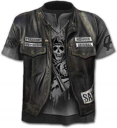 Camiseta Hombre Calavera - gótico - Manga Corta - Divertido - Camisa - Metal - Biker - niño - Rock - Punk - Oscuro - Presidente - anarquía - Halloween - Color Negro: Amazon.es: Ropa y accesorios