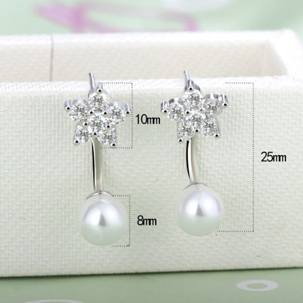 Cubic Zirconia Diamond//Simulated Pearl Classic Bridal Earrings for Women Girls JAJAFOOK 925 Sterling Silver Studs Earring Hypoallergenic Durable