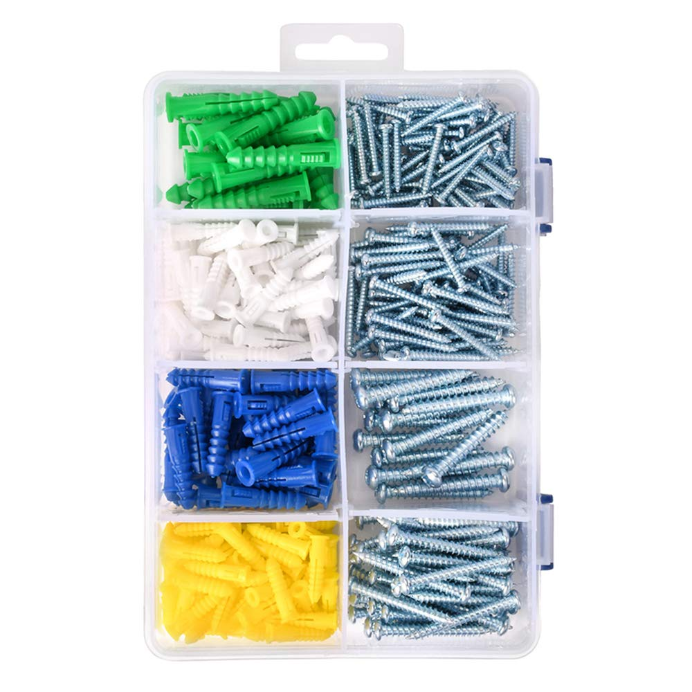 HomeDone Wall Anchors Kit 400-Pieces, Assorted Sizes with Screws