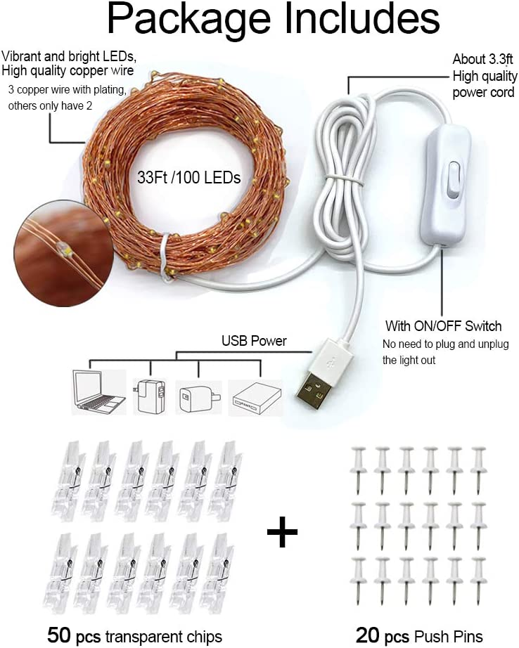 MUMUXI 33Ft 100 LED Photo Clip String Lights with 50 Clear Clips Copper Wire Fairy String Lights USB Powered with Switch for Hanging Pictures Dorm Bedroom Wall Wedding Party Christmas Decor,Warm White