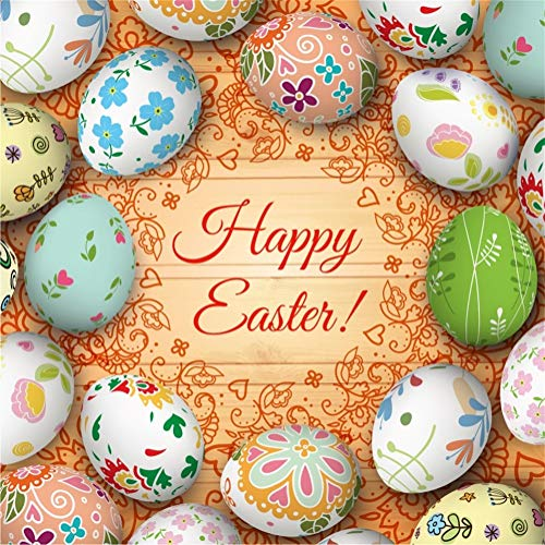 Yeele 6x6ft Happy Easter Backdrop for Photography Printing Easter Eggs Wood Plank Nature Spring Background Party Decoration Kids Children Girl Boy Photo Booth Shoot Vinyl Studio Props