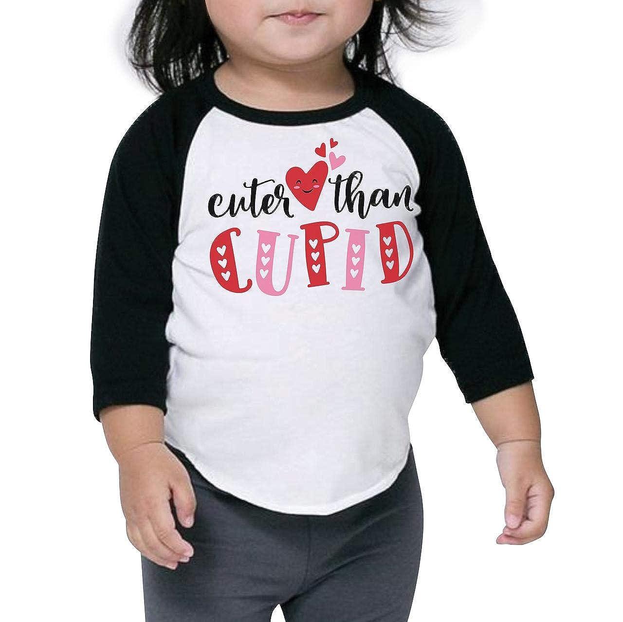 Bump and Beyond Designs Toddler Kids Cuter Than Cupid Valentines Day Shirt Unisex 3//4 Raglan