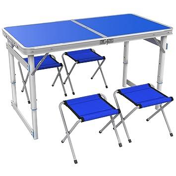 mesa plegable YXX portátil de Madera 4 pies y sillas con manija y ...