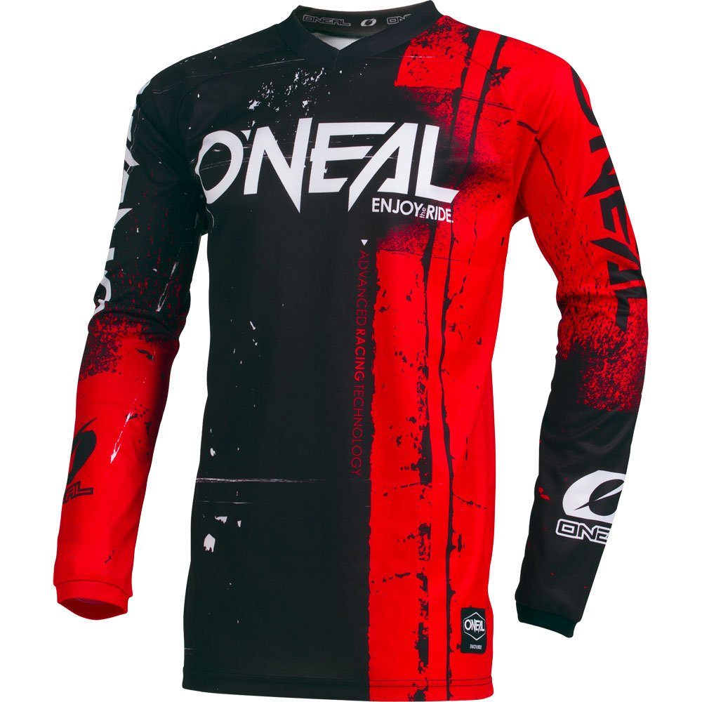 ONeal Element Shred Red Adult motocross MX off-road dirt bike Jersey Pants combo riding gear set (Pants W32 / Jersey Medium)