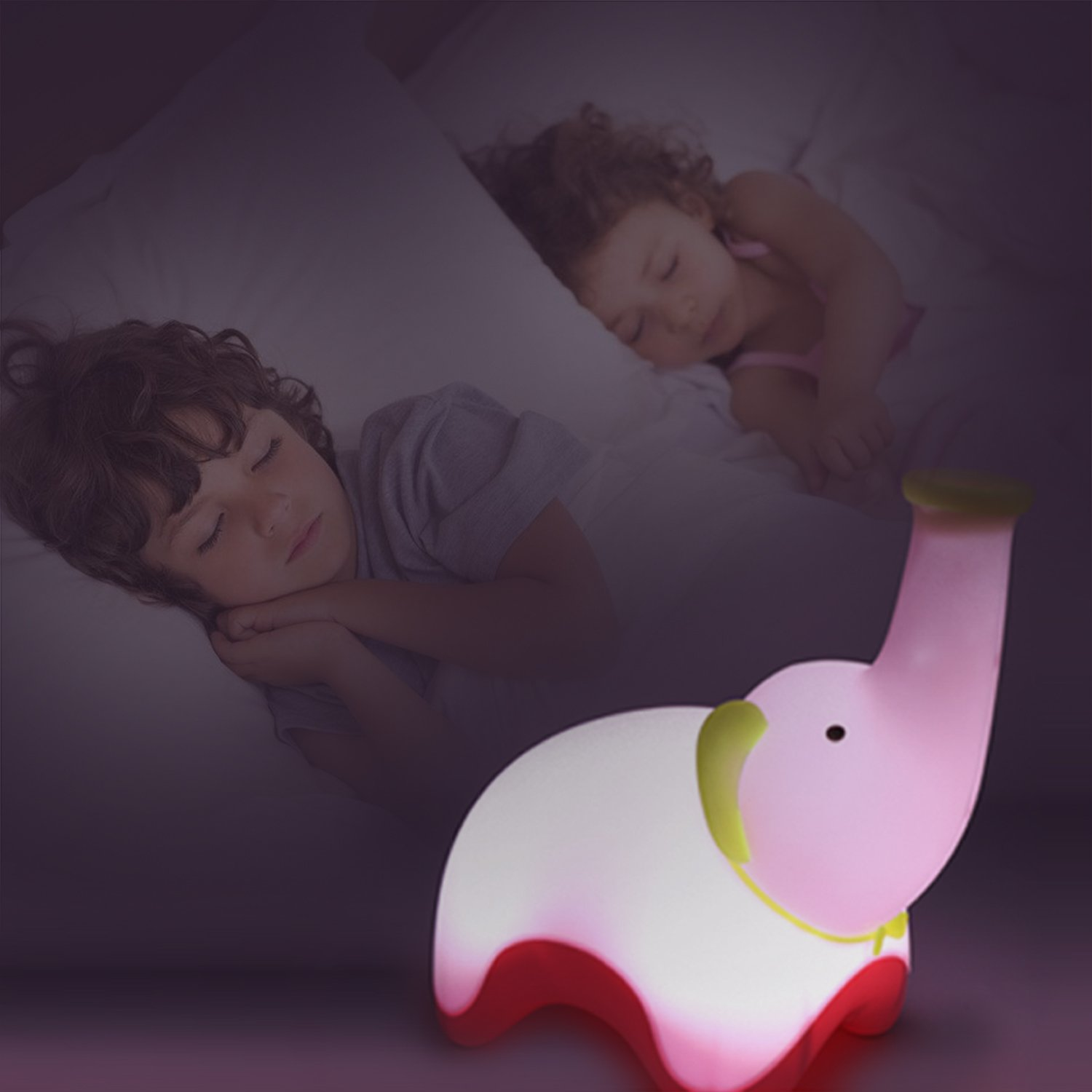 COOLCT 3D Big Size Pink Elephant Night Lamp You can Blow or tap to Light or Off Limited Cool Create Technology Co