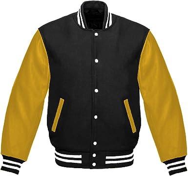 Design Custom Jackets Letterman Baseball Varsity Jacket Yellow Leather Sleeves//Royal Blue