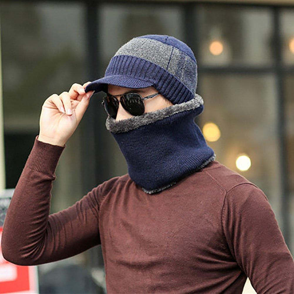 2Pcs Mens Fashion Winter Beanie Hat Cap Collar Neck Warmer Faux Woolen Yarn Set