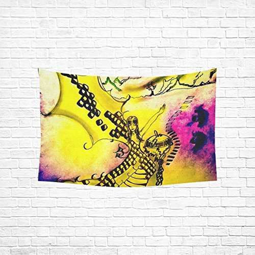nce Dragon A Fairy Tale Painting Yellow Pink Hippie Tapestries Wall Hanging Flower Tapestry Wall Hanging Dorm Decor For Living Room Bedroom 60 X 40 Inch ()