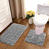 HEBE Bath Rugs Set of 2 Non Slip Microfiber