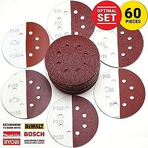 KoBzA 60 Pieces 5 Inch 8 Holes Sanding Discs - Hook and Loop Sandpaper Backing 10 of 40/60/80/120/180/240 Grit - Optimal Set Sandpaper Assortment for Random Orbital Sander Pads