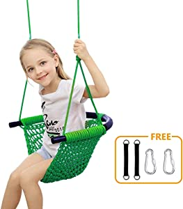 Donghoodshop Kids Swing Seat Heavy Duty Rope Play Secure Children Swing Set for Indoor/Outdoor/Playground/Home/Tree with Snap Hooks and Swing Straps|Suit for 2 to 12 Years|440 lbs Capacity (Green)