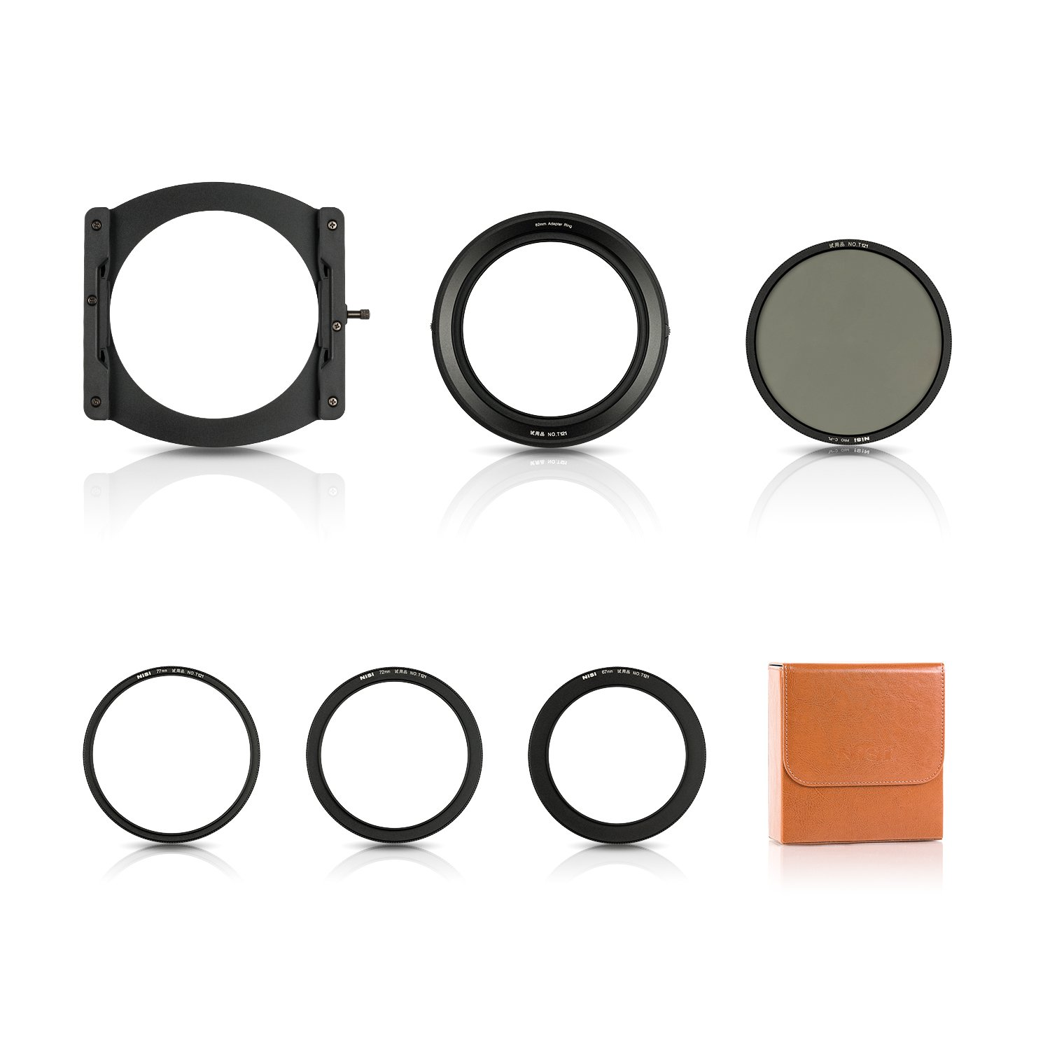 NiSi 100mm System V5 Pro Filter Holder Kit with Pro-CPL(86mm CPL),67mm.72mm.77mm Adapter Rings and Leather Filter Case