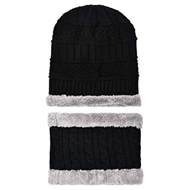 c77711b4 LQZ Soft Thicken Crochet Knitted Winter Warm Beanie Hat and Scarf Sets for Men  Women (