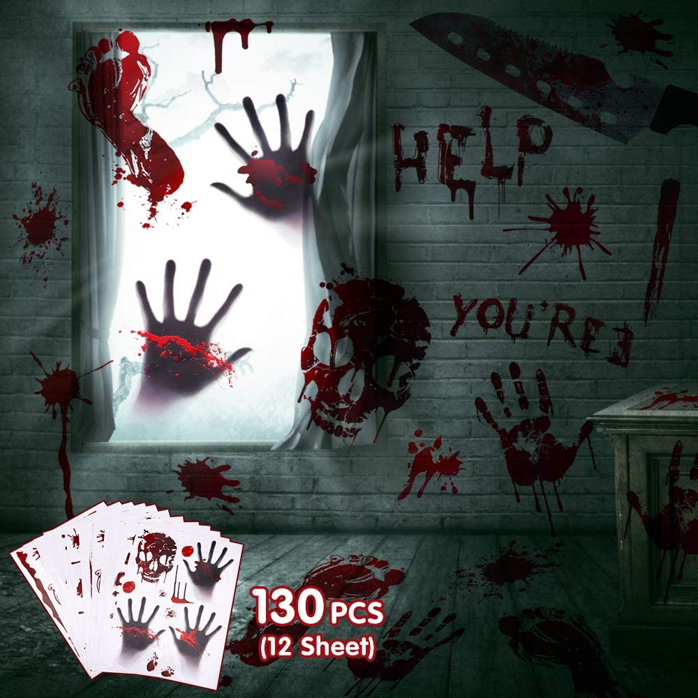130PCS Halloween Party Decorations Stickers Scary Bloody Decorations Handprint Footprint bloodstain Stickers Halloween Party Decor Clings for Window Floor Wall (12 Sheets)