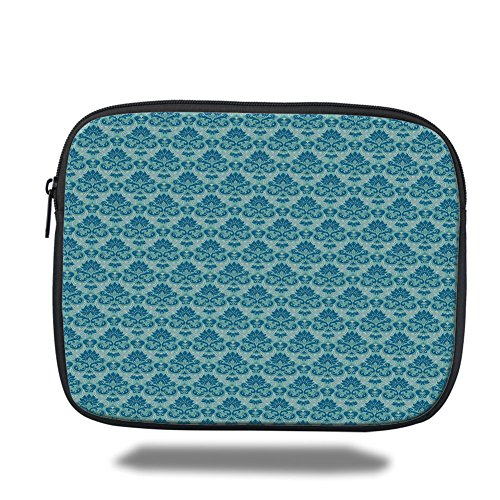 (iPad Bag,Damask,Blue Colored Pattern with Western Style Tile Revival Flourish Baroque Influences,Blue Seafoam,3D Print)