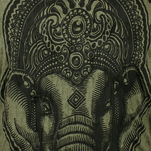 Psichedelica Uomo T M Oliva Da Yoga Elefante shirt Xl Verde Sure Indù Ganesha Taglia Dio L Arte Budda wtgPPd