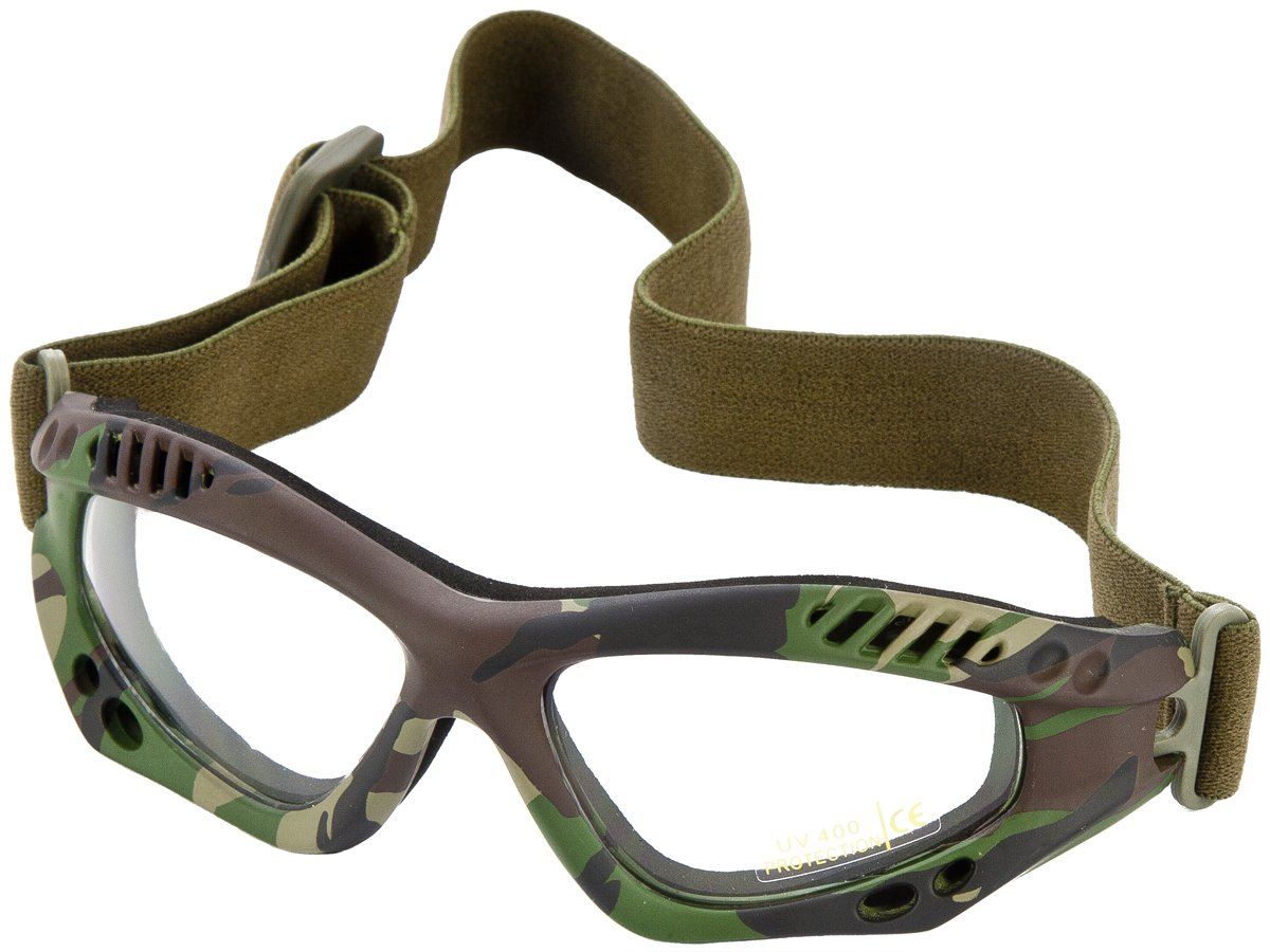Tactical Patrol Commando Air Pro Goggles Airsoft Clear Lens Woodland Camo Frame Mil-Tec