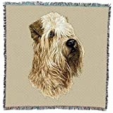 Pure Country Weavers - Soft Coated Wheaten Terrier Dog Woven Throw Blanket with Fringe Cotton. USA Size 54x54