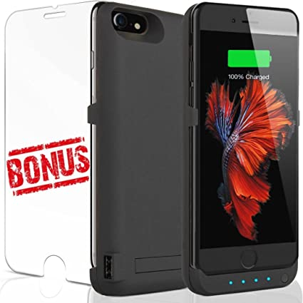 big sale 63ccd 4a03d iPhone 7 Battery Charger Case: For Apple iPhones 7 6 6S Portable Lightning  Charging Power Bank Pack 6000 MAH Charge Backup Black With Kickstand Slim  ...