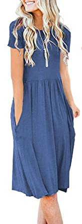 ee3b62d667d6 AUSELILY Women's Short Sleeve Pockets Empire Waist Pleated Loose Swing  Casual Flare Dress (S,