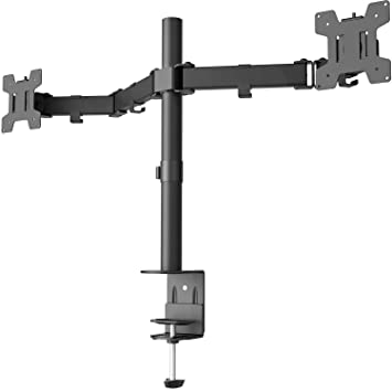 WALI Dual LCD Monitor Fully Adjustable Desk Mount Stand Fits Two Screens 13 to 32 inch, 17.6 lbs. Weight Capacity per Arm (M002LM), Black