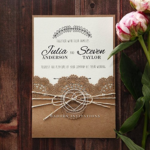 Wedding Invitations, Country Lace Pocket, Perfect for Weddings, Engagement, Bridal Shower Party by B Wedding Invitations, ()