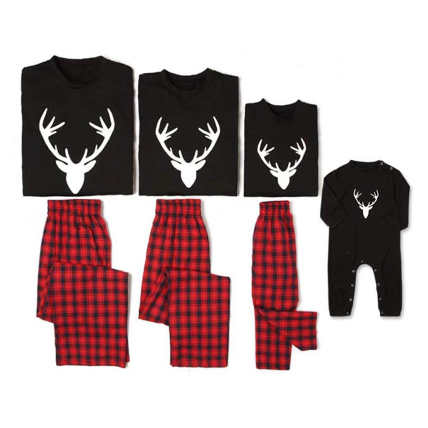 Family Matching Christmas Pajamas Sets Deer Long Sleeve Tee Plaid Pants Loungewear Sleepwear Homewear