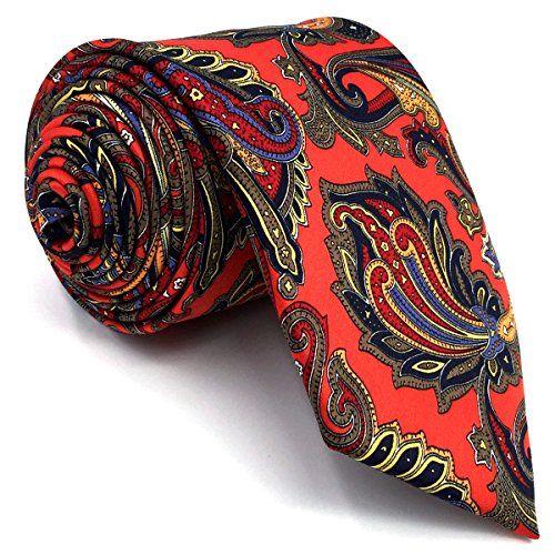 Printed Mens Tie (Shlax & Wing Men's Acceossories Necktie Printed Ties Red Paisley Silk Brand New)