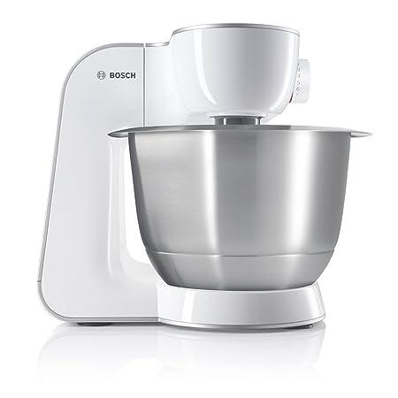 Bosch MUM54270DE Küchenmaschine (900 W, 3,9 l, edelstahlrührschüssel, Würfelschneider) weiß/silber
