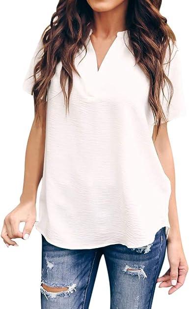 DressLksnf Camiseta de Mujer Verano Color Sólido Mangas Cortas Casual Cuello en V Blusa Moda Suelto Tops Deportiva de Estilo Camiseta 2019 Elegante Blusa: Amazon.es: Ropa y accesorios