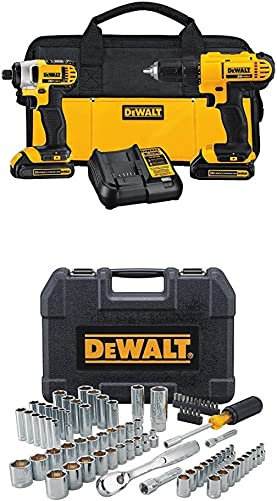 DEWALT DCK240C2 20v Lithium Drill Driver Impact Combo Kit 1.3Ah WITH 84pc Mechanics Tool Set