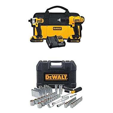DEWALT DCK240C2 20v Lithium Drill Driver/Impact Combo Kit (1.3Ah) WITH 84pc Mechanics Tool Set