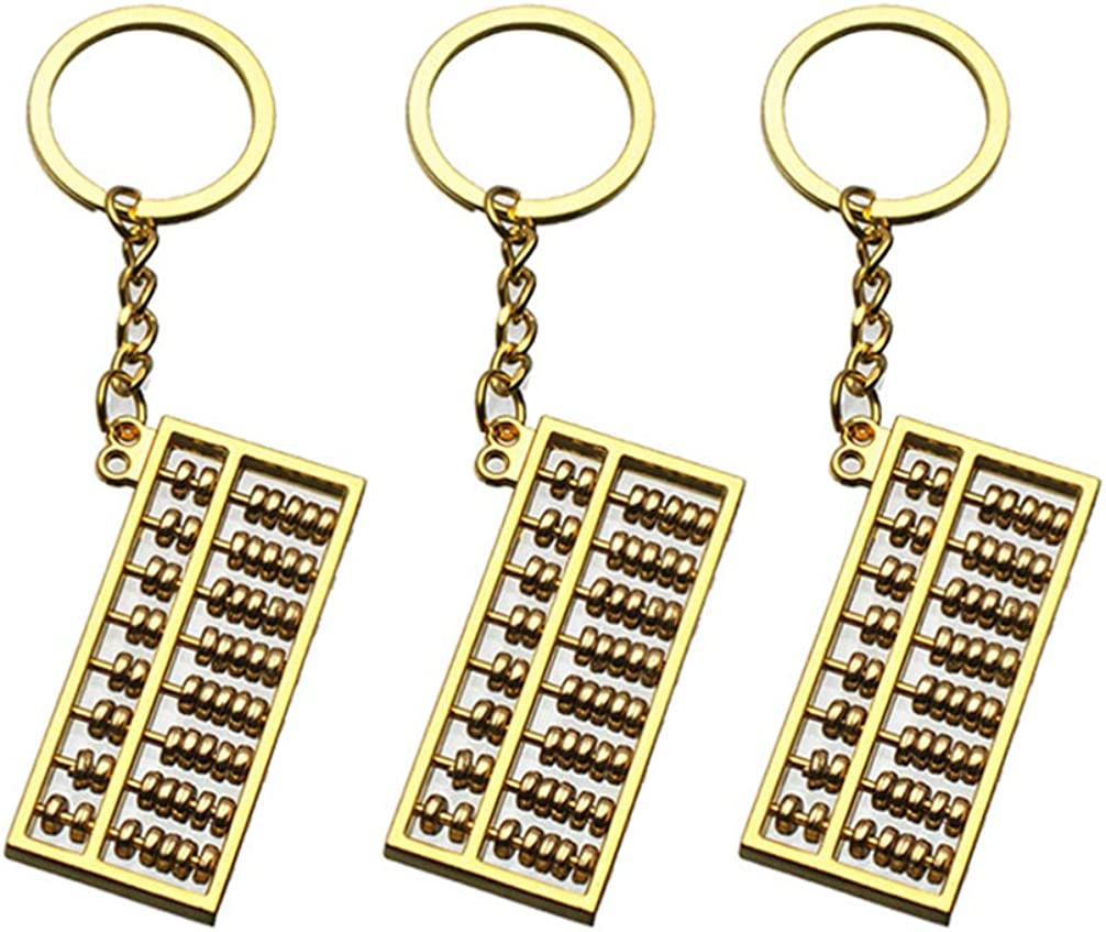 L Argent Healifty 3 Pcs Mini-Boulier Porte-Cl/és avec 8 Rouleaux Cr/éatif Style Chinois Bibelot Pendentif Porte-Cl/és Bijoux Porte-Cl/és Cadeau