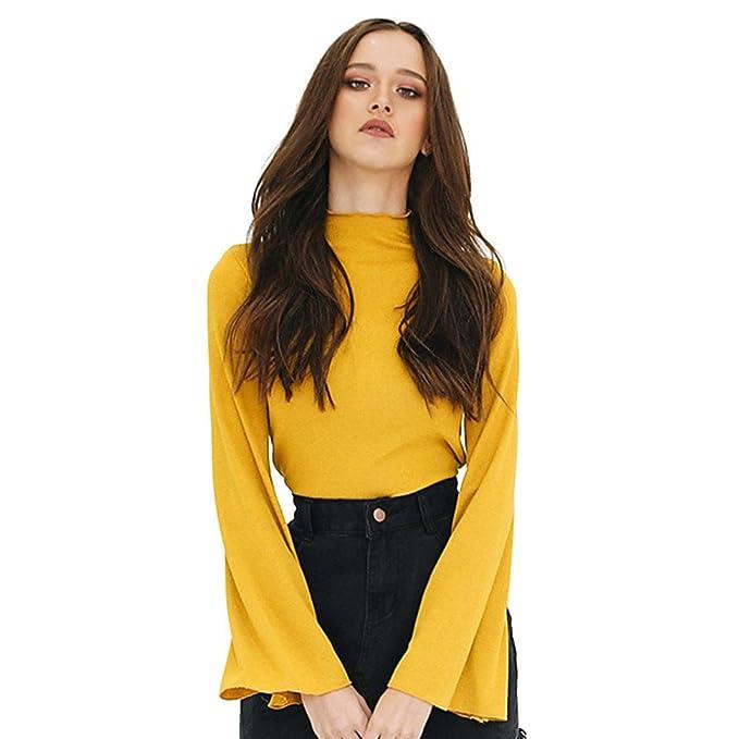 Koly Moda Mujer Flare manga camisa Top de cuello alto ocasional de la blusa Sólido amarillo