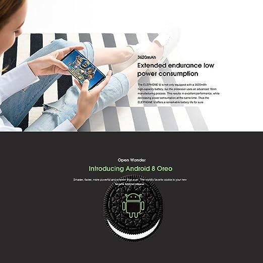 Elephone U, Smartphone 4 G Android 7.1 de Rostro Identificación ...